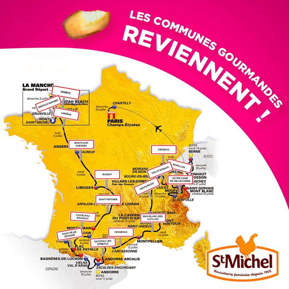 Les communes gourmandes selectionnées par la biscuiterie St michel
