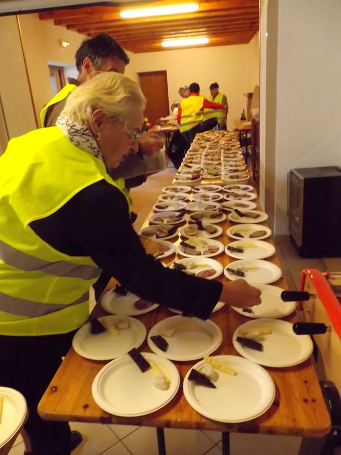 préparation des assiettes